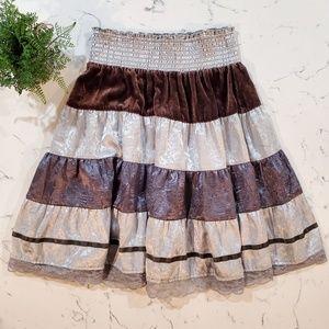 Free People Womens Silk and Velvet Skirt